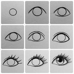 Resultado de imagem para drawing eyes step by step easy