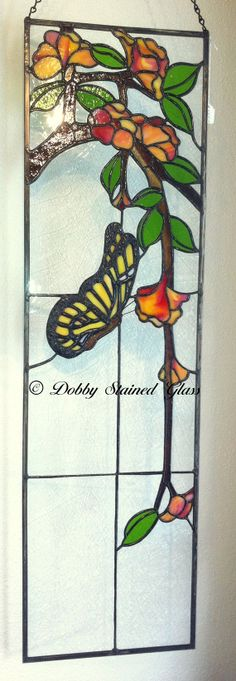 Stained Glass Panel - Butterfly with Flowers