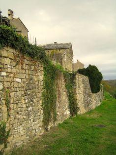 Old city stone wall in Oprtalj, Istria, Croatia
