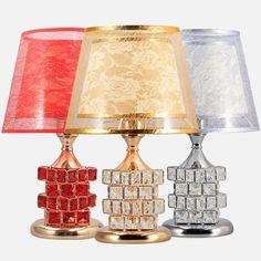 Crystal Table Lamps European style lamp bedroom bedside simple modern personality wedding warm energy-saving LU825447 #Affiliate