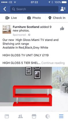 High Gloss Tv Unit, Photo Checks, Grey And White, Shelving, Tv Stands, Tables, Furniture, Home, Shelves