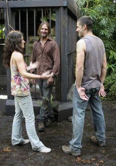 LOST season 3 set photo.  Evangeline Lilly, Josh Holloway & Matthew Fox goofing around....