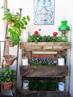 Increase growing space on a tiny balcony with this DIY pallet garden