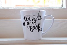 All You Need Is Tea And A Good Book Ampersand Latte Mug 12oz Ceramic Drink Cup by TheScribbleStudio on Etsy https://www.etsy.com/listing/474058624/all-you-need-is-tea-and-a-good-book