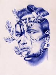 Surreal Drawings Created From Ballpoint Pen and Embroidery by Nuria Riaza Biro Art, Ballpoint Pen Drawing, Pen Sketch, Art Sketches, Biro Drawing Sketches, Blue Drawings, Pen Drawings, Stylo Art, Surrealism Drawing