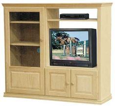 Plenty Of Storage In This Large Unfinished Pine, Maple, Or Oak  Entertainment Center