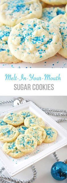 So soft and yummy. Definitely a hit! These are my Mom's Melt-In-Your-Mouth Sugar Cookies, and they're the best Christmas cookie! Drop Sugar Cookies, Sugar Cookies Recipe, Yummy Cookies, Yummy Treats, Melt In Your Mouth Sugar Cookie Recipe, Drop Cookie Recipes, Baking Cookies, Best Christmas Cookies, Holiday Cookies