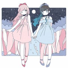 friends Image in Pretty (◡‿◡✿) collection by L. on We Heart It Uploaded by L. Find images and videos about pretty, art and anime on We Heart It - the app to get lost in what you love. Kawaii Anime Girl, Kawaii Art, Anime Art Girl, Anime Girls, Anime Best Friends, Bff Drawings, Kawaii Drawings, Cute Characters, Anime Characters