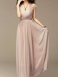 Bohemian V-Neck Embroidered Pleated Chiffon Dress For Women