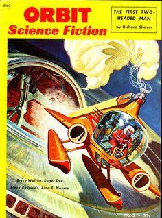1954 Orbit Science Fiction comic book cover art pulp retro futurism back to the future tomorrow tomorrowland space planet age sci-fi airship steampunk dieselpunk alien aliens martian martians BEMs BEM's