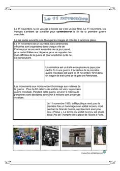Le 11 novembre - Capuchon Remembrance Day, Kids Learning, Cycle 2, Grace, French, Teaching, School, Canada, Action
