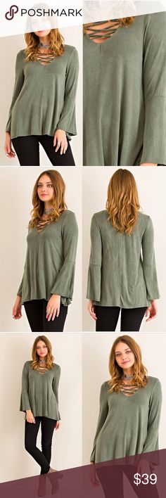 🆕 Olive Criss-Cross Bell Sleeve Blouse 💕DETAILS:  * Criss-Cross Front Detail * Olive Wash Green * Bell Sleeve * 95% Polyester 5% Spandex   Model is wearing size Small.   Small:  Medium: Large:   SKU:  •••••••••••••••••••••••••••••••••••••••••••  🙋Hello! I'm Monika. I'm a Boutique Owner & Boutique Coach. Welcome to my closet!   Let's keep in touch 💕 💟Instagram: @monikarosesf 💟YouTube: MonikaRoseSF 💟Snapchat: itsmonikarose Monika Rose SF Tops Blouses