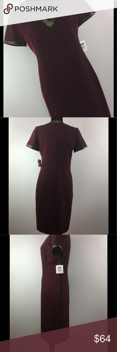 🍁 Burgundy & Gold Dress by Anne Klein Sweet & Simple Burgundy Dress by Anne Klein w/ Gold detail around the neckline. Size: 6 Color: Burgundy & Gold Material 97% Polyester 3% Elastane Anne Klein Dresses