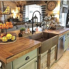 Home Decor - Decor Steals: Vintage Decor, Vintage Home Decor, Farmhouse Decor, Rustic Decor, Shabby Chic Decor - LOOKS ABSOLUTELY AMAZING WITH THE GLORIOUS BUTCHER BLOCK COUNTERTOP