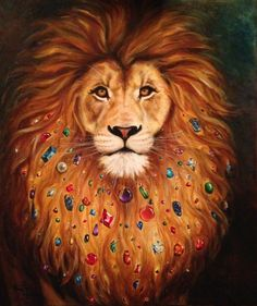 The Tribal Lion -- An original oil painting by Marguerite Anderson