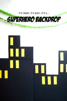 how to make a Superhero Party Backdrop - by angela Avengers Birthday, Batman Birthday, Boy Birthday, Superhero Theme Party, Batman Party, Superhero Backdrop, Iron Man Party, 5th Birthday Party Ideas, Backdrops For Parties