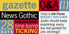 NEWS GOTHIC was designed by MF Benton for American Type Founders in 1908. The original design, with two condensed faces, is really a light version of Franklin Gothic. In the late 1940s, after a decline in popularity due to the success of European sans typefaces like Gill Sans, Futura, Kabel, American gothic type made a comeback. During this time new versions of News Gothic were designed, including bold in 1955. Like Franklin, these faces are classics for headlines, advertising & packaging.