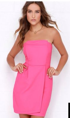Take a Sweet Hot Pink Strapless Dress $42 lulus.com