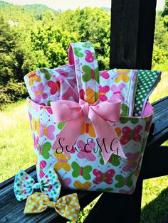 Baby Gift Basket set is a great gift and will have everyone awhing over it at the next shower. This is the best way to get every item in Sew EMG's baby collection at a great price!     To Order: www.SewEMG.Etsy.com
