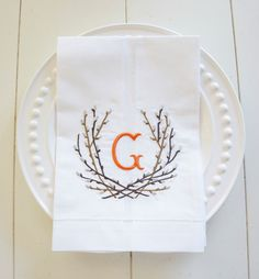 Pussy Willow Branches Monogram Towel, gift towel, embroidered guest towel