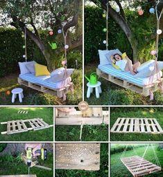 garden bench DIY Pallet Wood Swing Bed # g - garden Pallet Swing Beds, Wood Swing, Pallet Garden Furniture, Garden Pallet, Garden Benches, Pallet Patio, Outdoor Pallet, Furniture Ideas, Wood Pallets