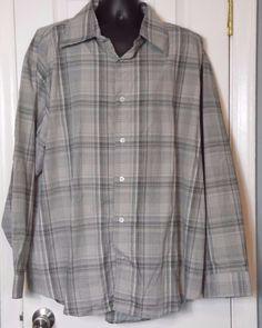 Bluez Cotton Button Front Long Sleeve Multi-Color Plaid Shirt Size 3XL NWT #Bluez #ButtonFront