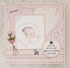 Such a pretty layout a - cards - baby. Vintage Scrapbook, Baby Scrapbook, Scrapbook Cards, Scrapbook Layouts, Baby Barn, Design Art Drawing, Baby Girl Cards, Congratulations Card, Easy Diy Crafts