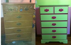 Before and After  I got the dresser for free from craigslist and painted it in colors matching my little girl's room. It looks fabulous! Plus it was all free! I used all left over paint.