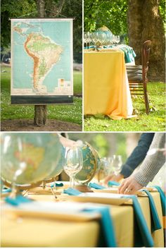 Cute decorating idea. Globes and yellow for a travel theme!