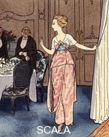 Brissaud, Pierre (1885-1964) L'Utile Recommendation, Robe de diner, de Cheruit, from Gazette du Bon Ton, published by Librarie Centrale des Beaux-Arts. Paris, France, 1912
