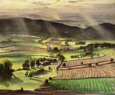 "Laura Knight (1877-1970) "" Valley at Evening"""