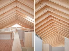 Flitch beam rafters and exposed soffit.