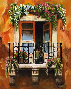 Balcony Of Livorno Painting by Edit Voros