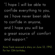 Anne Frank quote about her diary