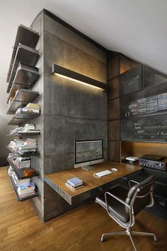 9 b loft modern loft design concrete wall panels dark gray color home office ide. 9 b loft modern loft design concrete wall panels dark gray color home office ideas Loft Design, Home Office Design, Home Office Decor, Design Case, Home Decor, Office Ideas, Office Designs, Workspace Design, Bureau Design
