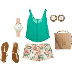 """flower shorts"" by paigeypassmore on Polyvore"