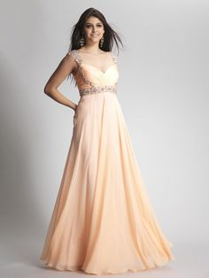 A-line Straps Chiffon Floor-length Sleeveless Beading Prom Dresses at pickedlooks.com