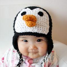 Penguin Hat, Crochet Baby Hat, Baby Hat, Animal Hat, Black, White, photo prop. $24.99, via Etsy.