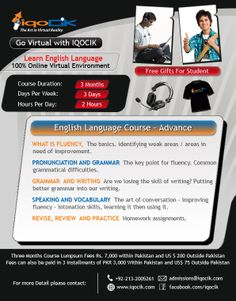 Flyer for IQOCIK for English Language Course - Advance Version