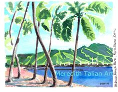North Shore HAWAII Original Watercolor Painting by MeredithTalian Palm Tree Coconut Pacific Harbor Seascape Ocean Beach Coastal Green Blue