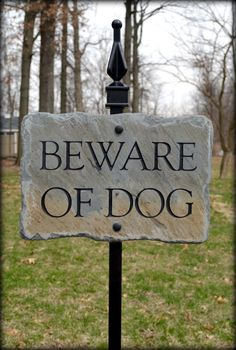Beware of Dog Sign / CARVED SLATE w/ Lawn Stake / Reclaimed / Plaque/ Dogs on Etsy, $59.99