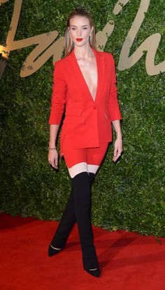 Rosie Huntington-Whiteley at the 2013 British Fashion Awards in an Antonio Berardi pantsuit. I REALLY love this look. And the bright red lip tops it all off.