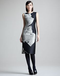 Abstract-Print Jacquard Dress by Carolina Herrera at Bergdorf Goodman.