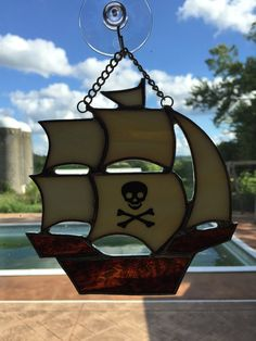 Handmade Stained Glass Pirate Ship Suncatcher by QTSG on Etsy