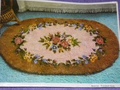 VINTAGE  Bernat Latch Hook Rug  Martha Oval  36 x 60 by bellestarr, $40.00