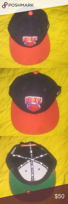 knicks snapback orange and black corduroy knicks snapback. orange brim, green bottom and orange strap New Era Accessories Hats