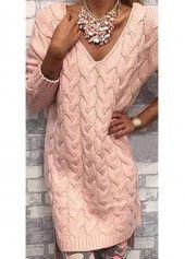 V Neck Long Sleeve Pink Shift Dress - USD $29.12
