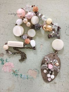 maximusupcycled spoon necklace vintage beads faux pearls by Arey