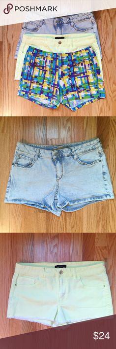 "💥Final Price 💥Shorts Bundle Save big! 3 shorts, only pay shipping once. #1- Light wash,  Arizona Jeans, denim shorts- Size 11J 99%cotton, 1%spandex- Waist 16"", inseam2.5"". #2 Yellow Forever 21 cut off denim shorts. 69%cotton, 29% poly, 2%spandex. Size30 Waist 16.5"", inseam 2"". #3 Reebok athletic shorts. 80%polyester, 20% spandex- Size XL - 15"" elastic waist, inseam 3"". All EUC. Forever 21 Shorts"