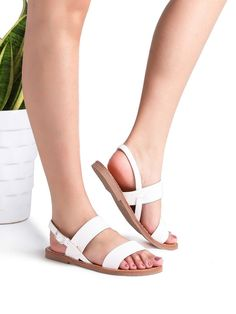 SheIn offers White Strappy Casual Flat Sandals & more to fit your fashionable needs. White Strappy Sandals, White Flat Shoes, Low Heel Sandals, Cute Sandals, Flat Sandals, Cute Shoes, Strap Sandals, Shoes Sandals, Aldo Shoes